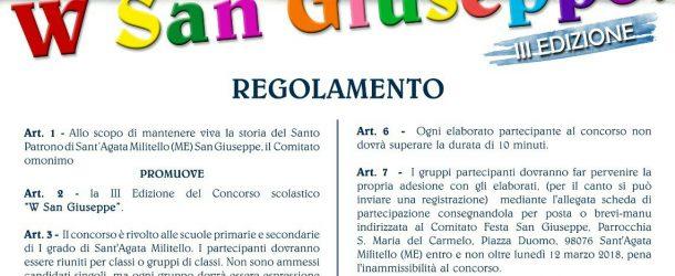 """Sant'Agata Militello: Arriva la III edizione del concorso """"W San Giuseppe"""""""